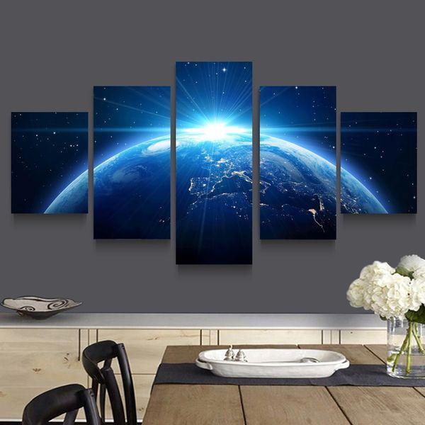 Art Mur Image Framless Prints Peinture Abastract Pour La Maison Décoration 5 Pièces Univers Planète L'espace Paysage Paysage Toile