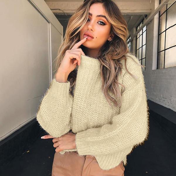 Четыре цвета шею нерегулярные свободные с длинными рукавами вязать свитер чистый свитер осень и зима