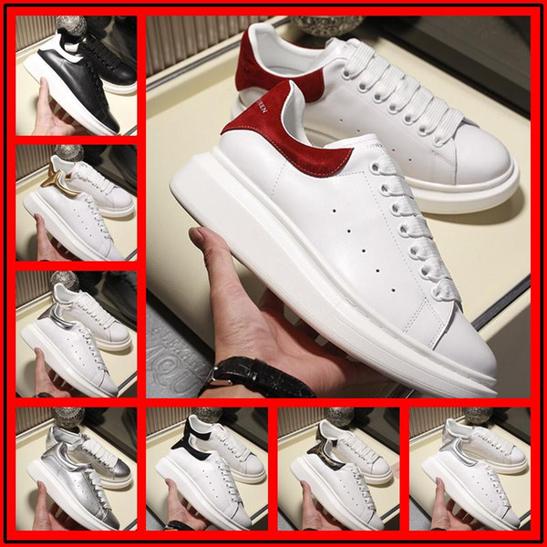 Cheap Designers Luxurious Brand white black leather casual shoes for womensed fash men pink gold rion comfortable flat sneakers