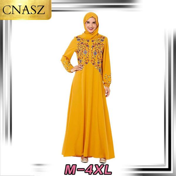 Robe musulmane mode islamique Turquie infirmière Jupe Dubaï style Moyen-Orient usine Zipper Casual brodé arabe longue Robe trapèze
