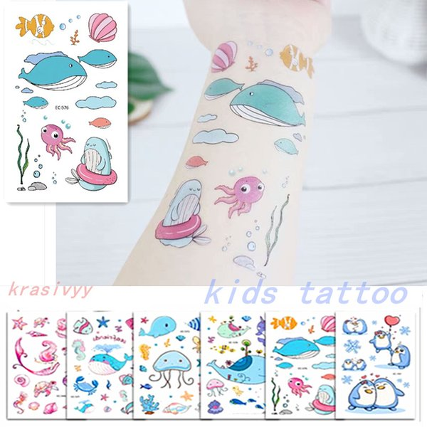 2019 Temporary Tattoo body art Stickers Kids Stickers sea series dolphin Waterproof Tattoo for Children non-toxic paper tattoos