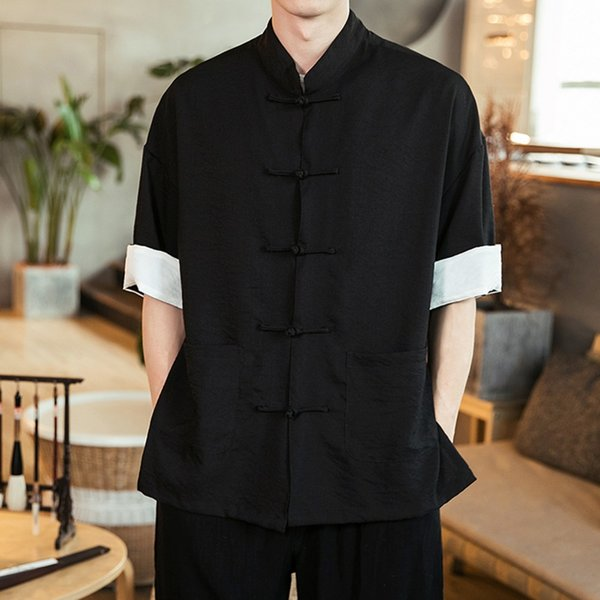 Traditional chinese clothing for men sundress shirts tang traditional chinese shirt Kung Fu Men's Vintage Oriental Shirts 5XL