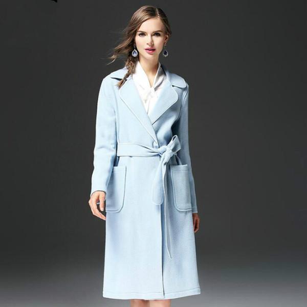 Style européen et américain veste mince 2019 nouveau manteau dames manteau en laine long revers manteau