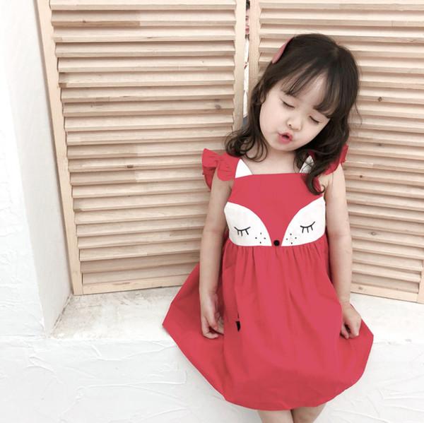 2019 2019 Summer New Kids Dress Girls Cute Fox Princess Dress Children  Double Pocket Falbala Fly Sleeve Dress Baby Girls Cartoon Clothes F6214  From