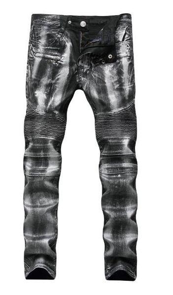 Diseñador de hombres desgastados desgarrados Flaco Jeans Moda para hombre Jeans Motocicleta delgada Moto Biker Causal Mens Denim Pantalones Hip Hop Pantalón Jeans