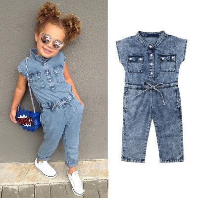 Baby Girls Denim Romper INS Children Bow Cowboy Jumpsuits New Summer Fashion Sleeveless Denim Rompers Boutique Clothing