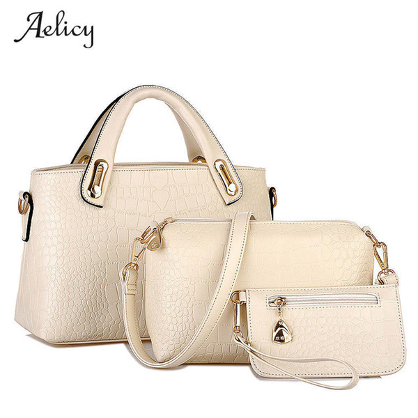 Aelicy 3 Sets Women Handbag Shoulder Bags Tote Purse Leather Ladies Brand Messenger Luxury Handbags Women Designer Shoulder Bag Y190619