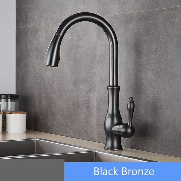 Bathroom Copper Sink Faucet Cold Hot Mixer Tap Basin Tap Pull Out Sprayer Single