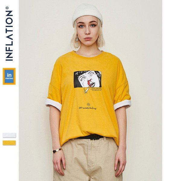 INFLATION Men Clothing Cartoon Funny Printed T-shirt Cotton Fashion High Street Couple Tees Streetwear Swag Top Tee 91195S
