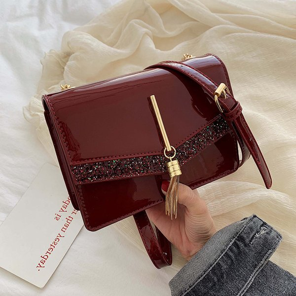 Sequin Tassel women bag V Patent leather Chain small shoulder luxury female 2019 lady messenger handbag designer crossbody brand