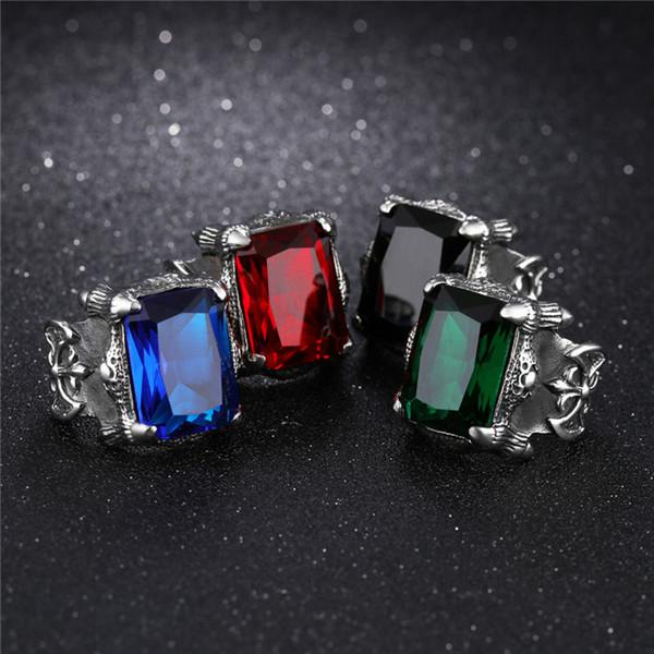 Anéis de motociclista de aço inoxidável do punk para homens sangue vermelho _ azul _ preto _ verde cúbicos de zircônia embutidos masculinos bandas de dedo GJ430