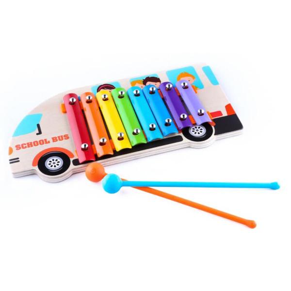 Hot gros bois brut belle couleur bois heurtoir instrument de musique bébé frapper sur le piano Guoqin Octave Noisemaker jouets S19JS230