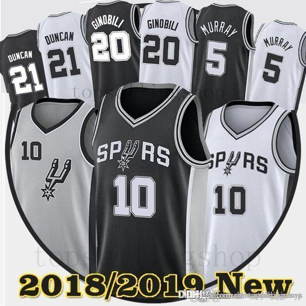 598b8c07391 Men DeMar 10 DeRozan Dejounte 5 Murray Spurs Jerseys Manu 20 Ginobili Tim  21 Duncan Embroidery Logos jersey DeRozan