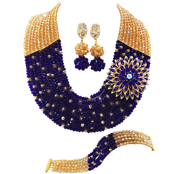 Fashion Champagne Gold AB Royal Blue Nigerian Wedding African Jewelry Set Crystal Beads Necklace Bracelet Earrings Sets 10SZ17