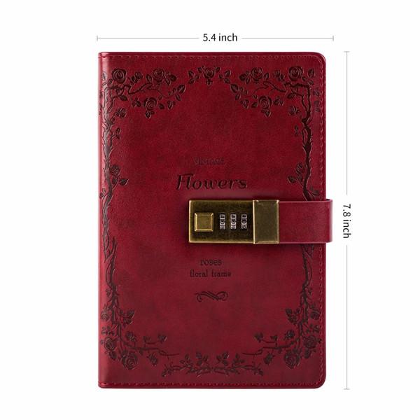 Günlüğü Kilit Ile Vintage Deri Dergisi Kilidi Günlüğü Gezginler Günlüğü Astarlı Kağıt ve Boş Kağıt Dizüstü Eskiz Defteri Defteri