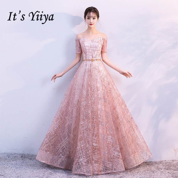 It's Yiiya Luxury Boat Neck Off The Shoulder Bling Sequined Lace Up Evening Dresses Backless Floor Length Party Gown Mx011 Y190525