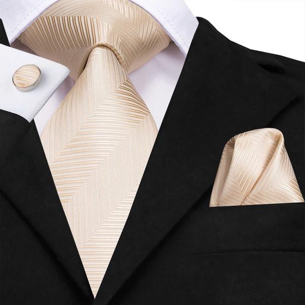 C-3175 Woven Men Tie Gravata De Seda 8.5 cm New Champagne Gravata De Ouro Lenço De Cufflinks Set Clássico Do Casamento Bolso Gravata Quadrada conjunto