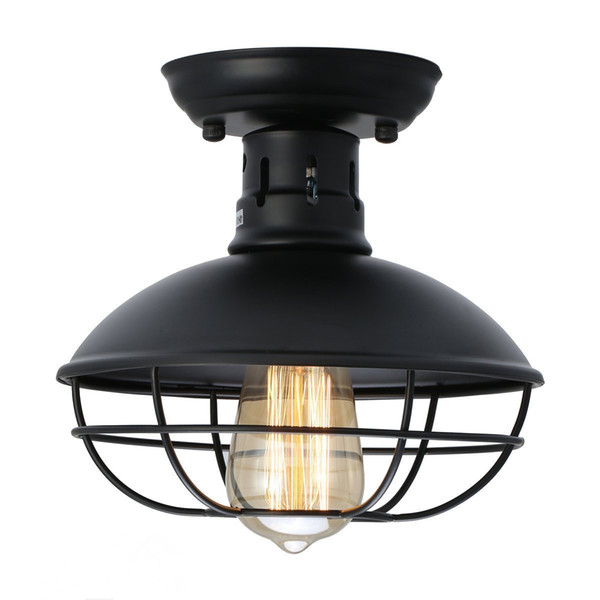 Industrial Metal Cage Ceiling Light Rustic Mini Semi Flush Mounted Pendant Lighting Cage Ceiling Lamp Fixture for Kitchen Warehouse Bedroom
