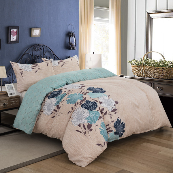 BEST.WENSD Side Flowers bedding set queen king comfortable beddings ab side blue Single double 3pcs duvet cover set jacquard