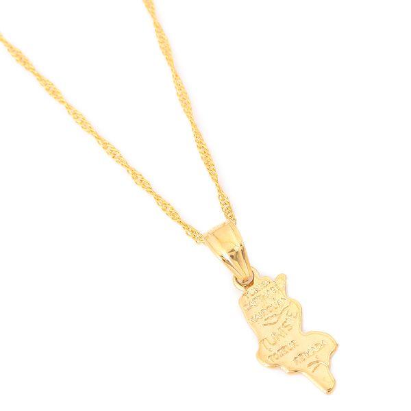 Tunisie Map Pendant Chain Yellow 24K Gold Color Jewelry Tunisienne Tunisia Women Girl Gift