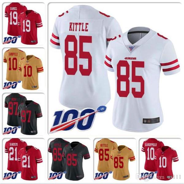 Erkek Nick Bosa Jersey Joe Montana Steve Young Jerry Rice Ronnie Lott Jalen Hurd Joe Staley özel NFL100TH futbol formaları özelleştirilmiş 4XL