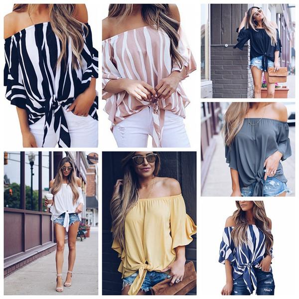 Yeni tasarım kadınlar casual t-shirt şerit kapalı omuz kısa kollu seksi bayanlar straplez şifon bluzlar