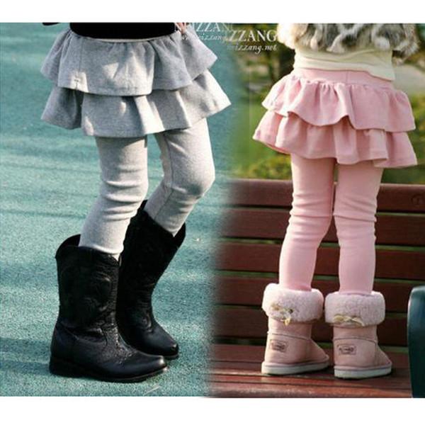 2018 New girls skirt legging pant tights children skirts leggings pants baby pink gray brown black pure bot