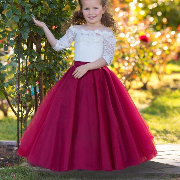 Off Shoulders Flower Girl Dress Burgundy Wedding A-line Lace Tulle Fancy Little Girls Party Formal Occasion Princess Dress 199