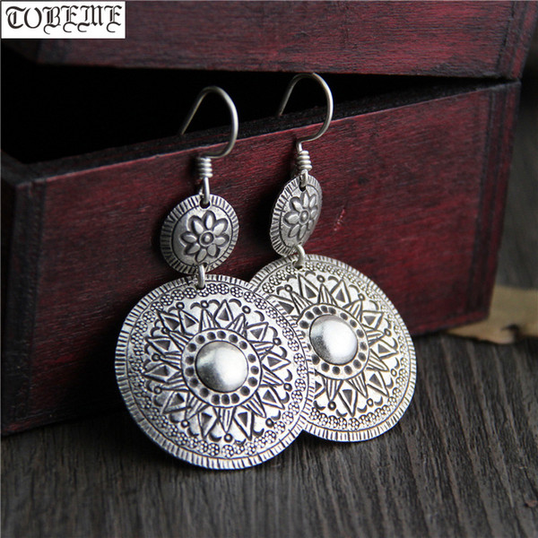 Handcrafted 100% 925 Silver Flower Earrings Thailand Silver Women Earrings Pure Bohemia Drop Lucky Symbol