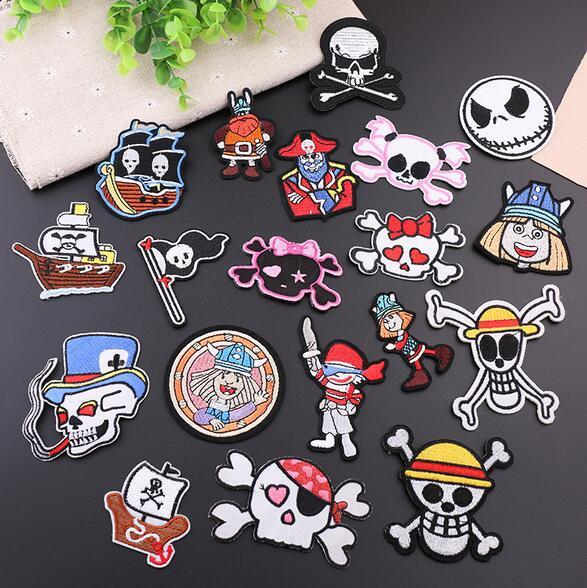 best selling 8P-120 3d emborderied Pirate flag Iron On Patches cartoon Skull bow Pirate Ship sew on patch for clothing child patch can customer design