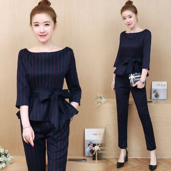Office OL Black Striped 2 piece set women suits outfits top and pant suit co-ord set slim bodycon elegant 2019 spring clothing