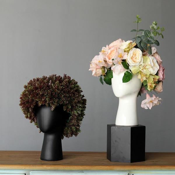Creative Tête humaine Blanc Noir décoratif Bastract Vase en céramique sans ornements Chambre modèle Fleur Décoration