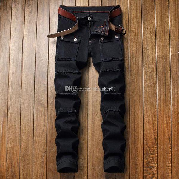 Brand New Hommes Jeans mode affligée Zipper Jeans Hommes Ripped Designer Pantalons Skinny Biker Hip Hop Noir Pantalon en denim
