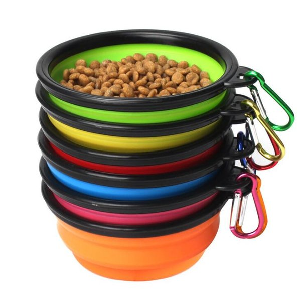 2019Collapsible plegable de silicona perro tazón color caramelo viaje al aire libre portátil cachorro doogie alimentador de contenedores de alimentos plato