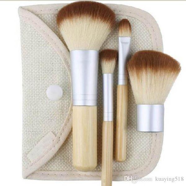 4шт набор деревянных кисточек для макияжа красивый профессиональный бамбук тщательно разработанные инструменты для макияжа с чехлом на молнии сумка кнопка сумка бесплатно DHL