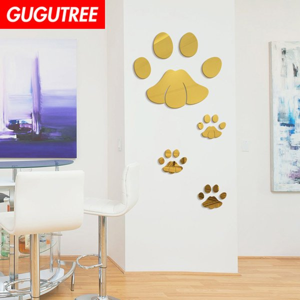 Decorate Home 3D paw mirror art wall sticker decoration Decals mural painting Removable Decor Wallpaper G-210