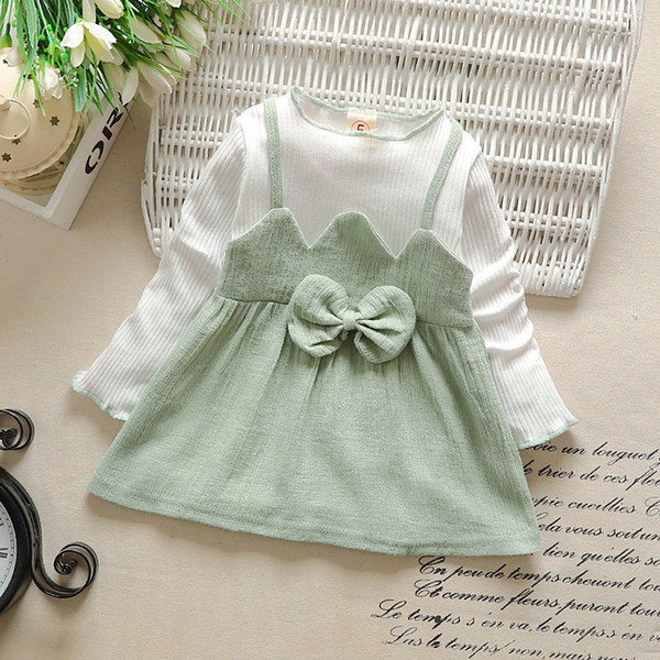 FashionToddler Kids Baby Girl Clothes Striped Patchwork Bow Princess Party Dresses 2019 Hot Selling