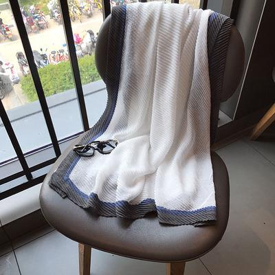 Luxury-Spring and summer scarf female new style han fan crimping spring sun protection cotton linen shawl holiday travel gauze.