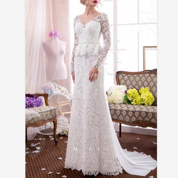 Elegant White Lace Sheath Wedding Dresses Australian Custom V Neck Long Sleeve Plus Size Bridal Dress Sweep Train Country Wedding Gowns