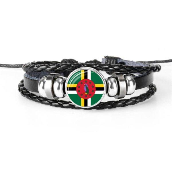 Unisex Dominica National Flag World Cup Football Fan Time Gem Glass Cabochon Button Bangles Bracelets Multilayer Leather Rope Beaded Jewelry