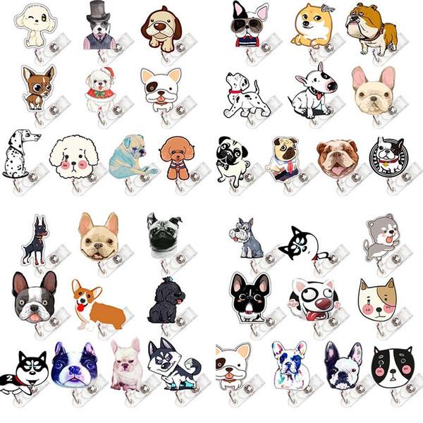 40pcs/lot Dog Fashion Design Nurse Retractable Badge Reel Pull ID Card Badge Holder Belt Clip Hospital School Office