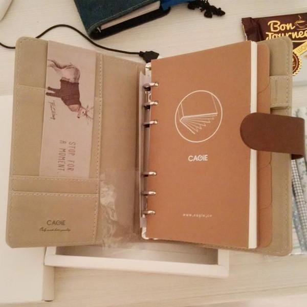 Lindo cuaderno de cuero en espiral Kawaii Panda / Cat Lined Pages Dividers Planner A6 Binder Cuaderno de viaje Cuadernos WJ-XXWJ300-