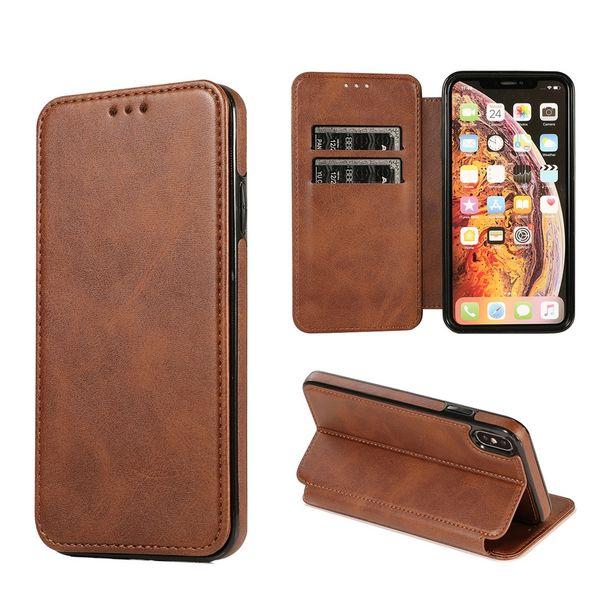 Luxus echtes Kalb Ledertasche für iPhone X XS Max XR 6 6S 7 8 Plus Brieftasche Kartenständer Flip Cover TPU Fällen