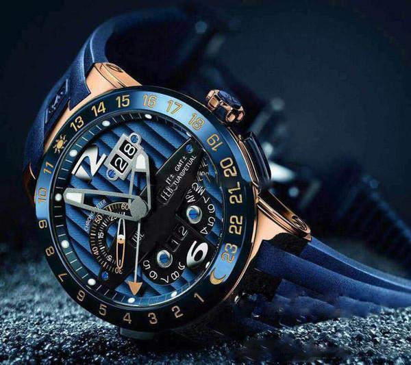 2019 New Ulysse Executive El Toro / Black Pero Calendario Perpetuo GMT 326-00-3 / BQ Rosa Dorado Azul Dial Azul Caucho Automático Reloj para hombre UN-17c3
