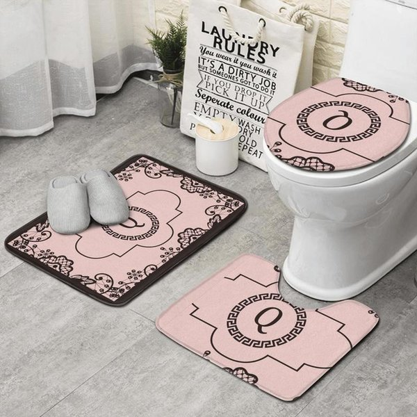 Entrada da FLOR Monogrammed Q preto 3 peça conjunto banheiro, tapete antiderrapante tapete melhor banho banheiro tapete