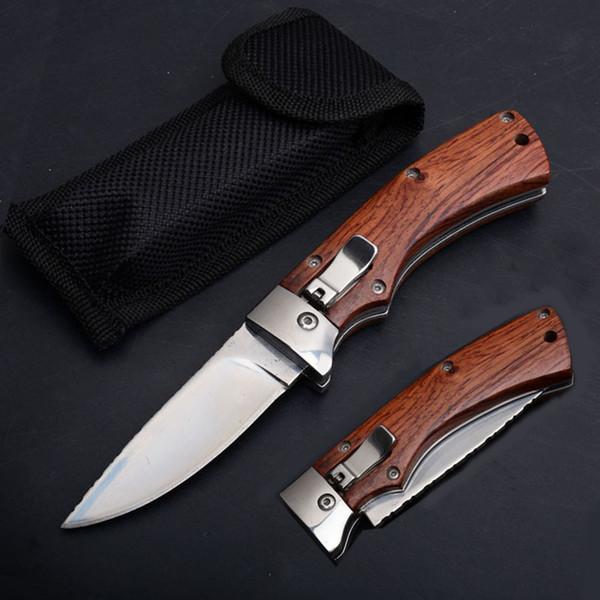 2019 Yan Açık Pürüzsüz Eylem Katlanır Maket Bıçağı Ahşap Saplı 8CR13 Saten Bıçak Açık Survival Cep Hediye Bıçakları Naylon Torba Ile P444R F