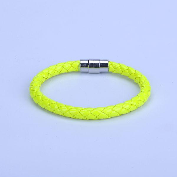Nouveau Simple Punk 6mm Bright Lime Vert Jaune Macrame Cuir Fermoir Magnétique Wrap Bracelets Bracelet Pour Couple Unisexe Bijoux