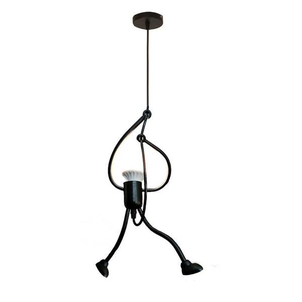 Moderne De Charme Suspendus Lustre Nordique Creative Fer Petit Homme Escalade Corde Pendentif Lumières Art Décoration Pendentif Cintre Lampe