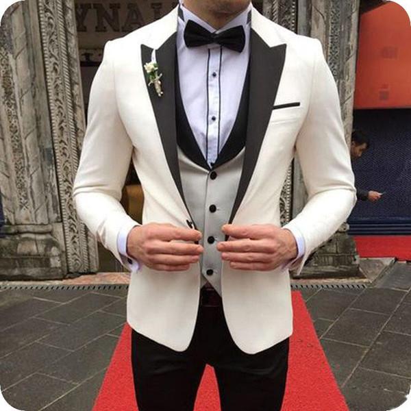 Apuestos padrinos de boda Peak Lapel Groom Tuxedos Vestido de novia para hombre Chaqueta de hombre Blazer Prom Dinner Traje de 3 piezas (Jacket + Pants + Tie + Vest) B71