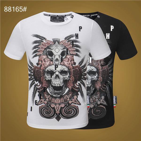 Camisa ppT la impresión del cráneo de la camiseta de la manera caliente de los hombres de los hombres respirables Phillip Llano t-shirtt-camiseta de verano de manga corta de los hombres de manga corta de la medusa